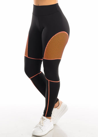 Image of Activewear Orange Mesh Black Leggings