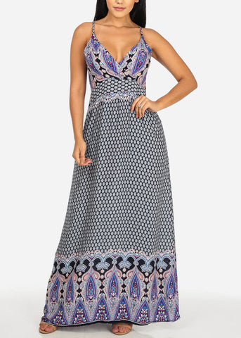 Purple Printed V-Neckline Maxi Dress