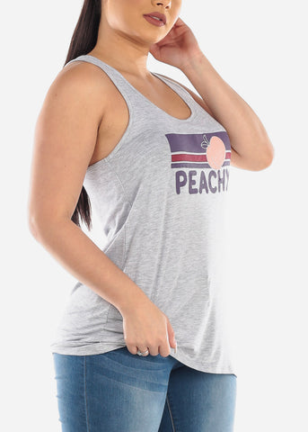 Peachy Graphic Print Basic Essential Super Stretchy Grey Sleeveless Tank Top For Women Ladies Junior