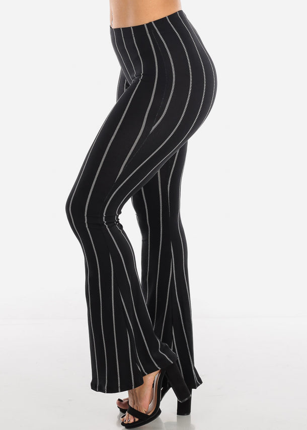 Striped Black Bell Bottom Pants