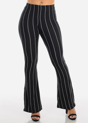 Image of Striped Black Bell Bottom Pants