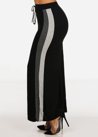 One Size High Waisted Grey Stripe Sides Black Stretchy Wide Legged Pants