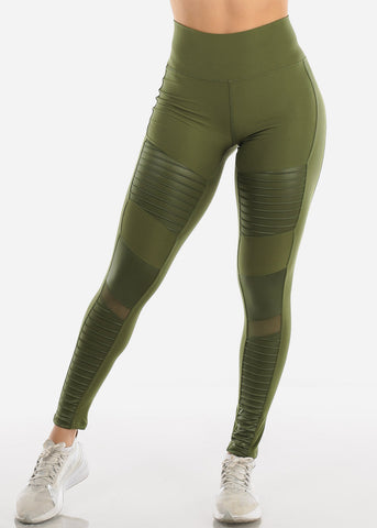 Image of High Waist Activewear Moto Olive Leggings