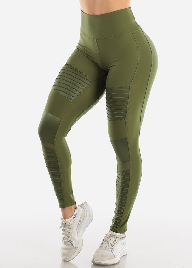 High Waist Activewear Moto Olive Leggings