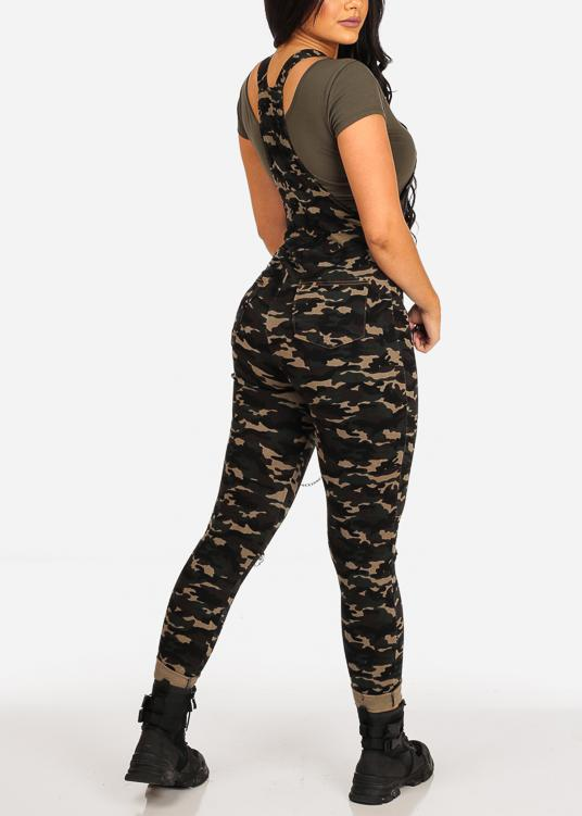 Affordable Distressed Camo Overall W Chain