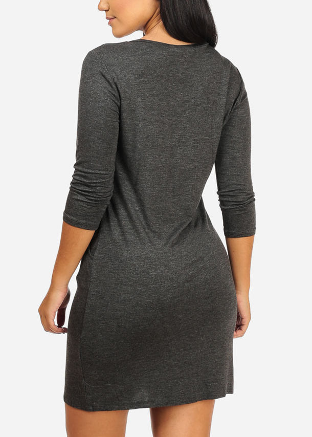 Charcoal V-neckline Dress W Pockets