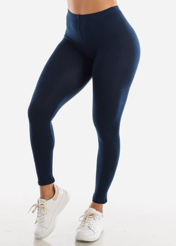 Image of Cotton High Rise Navy Leggings