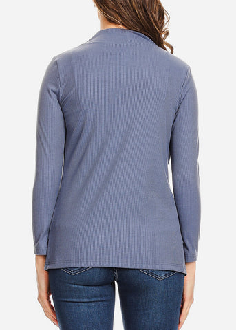 Image of Open Front Ribbed Blue Cardigan