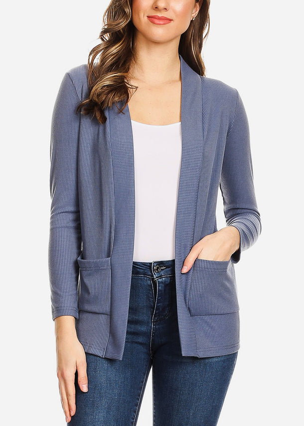 Open Front Ribbed Blue Cardigan