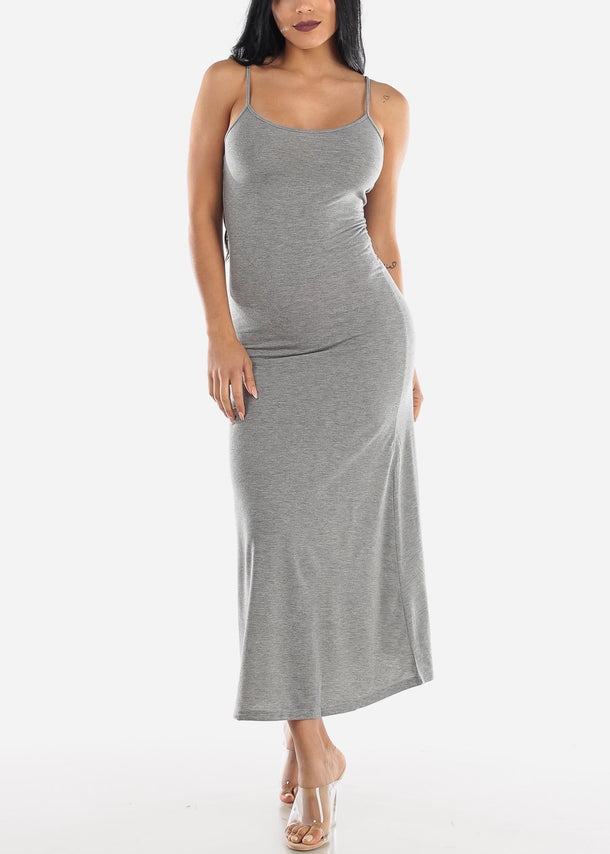 Spaghetti Strap Grey Maxi Dress