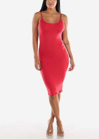 Image of Red Bodycon Midi Dress