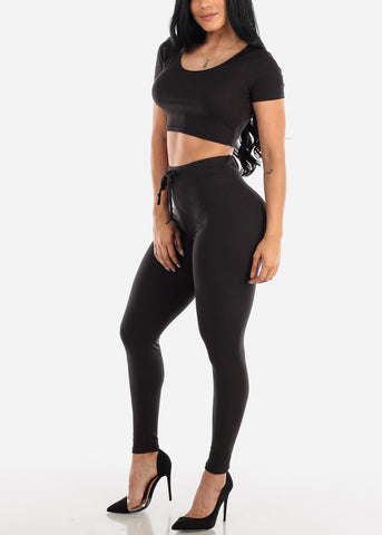 Ribbed Black Crop Top & Pants (2 PCE SET)