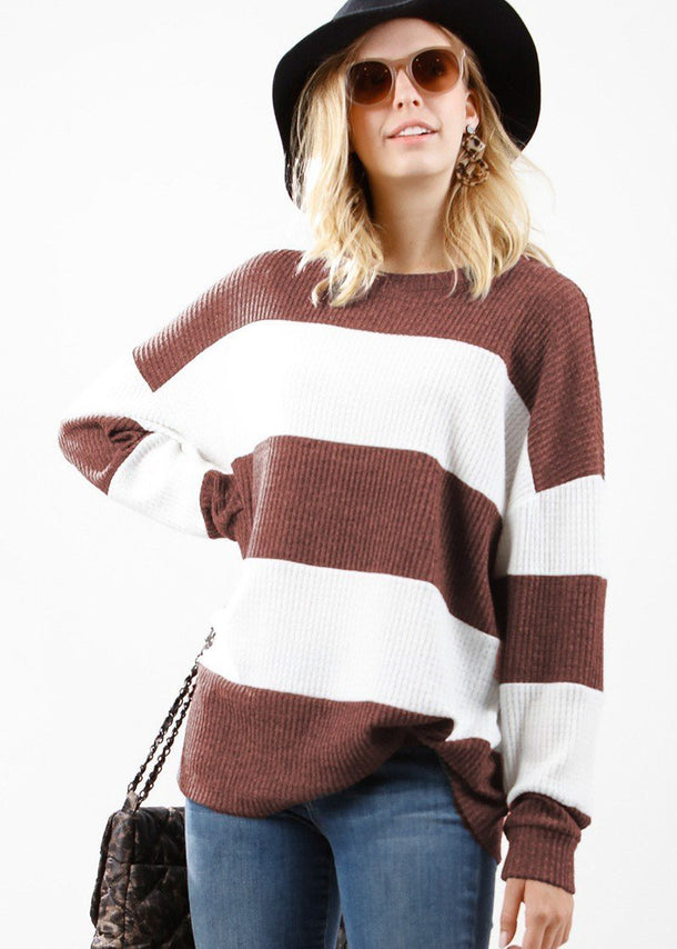 Two Tone Stripe Waffle Pullover