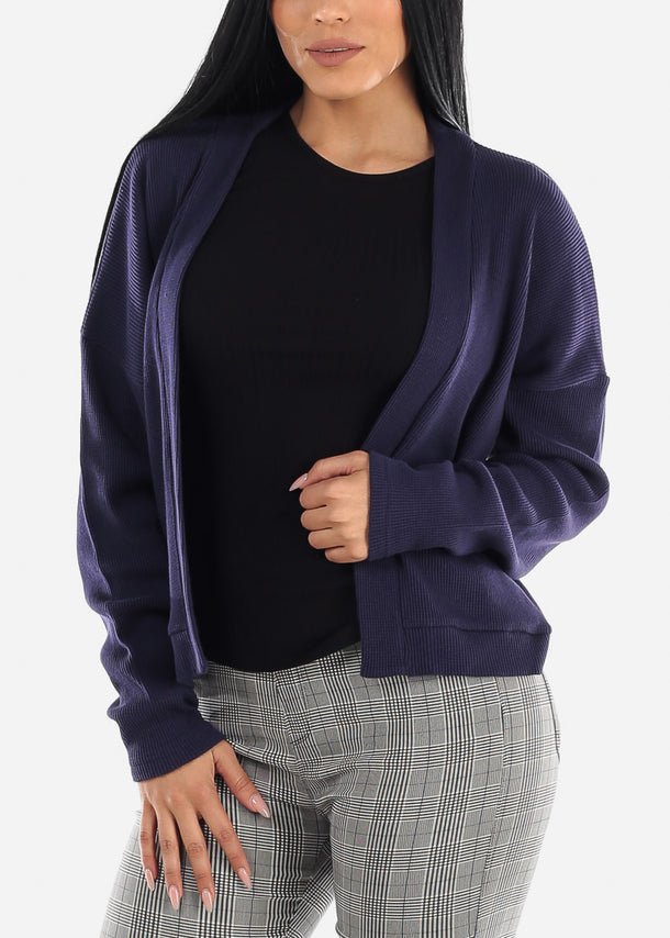 Navy Open Front Waffle Cardigan