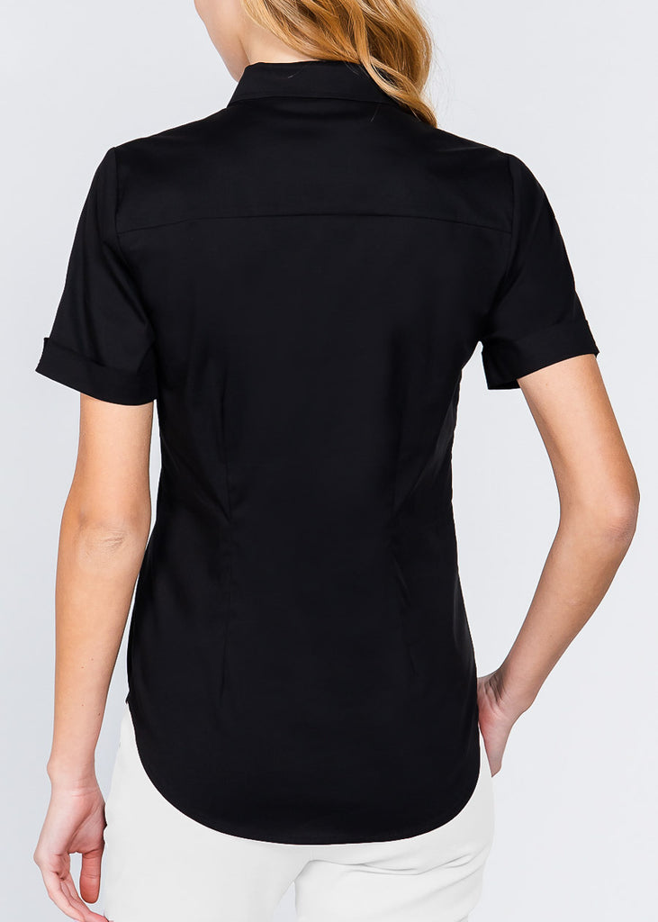 Short Sleeve Button Up Black Top