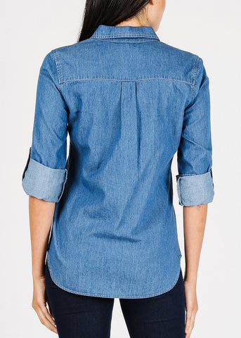 Button Up Med Wash Denim Shirt
