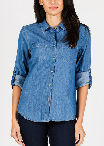 Image of Button Up Med Wash Denim Shirt