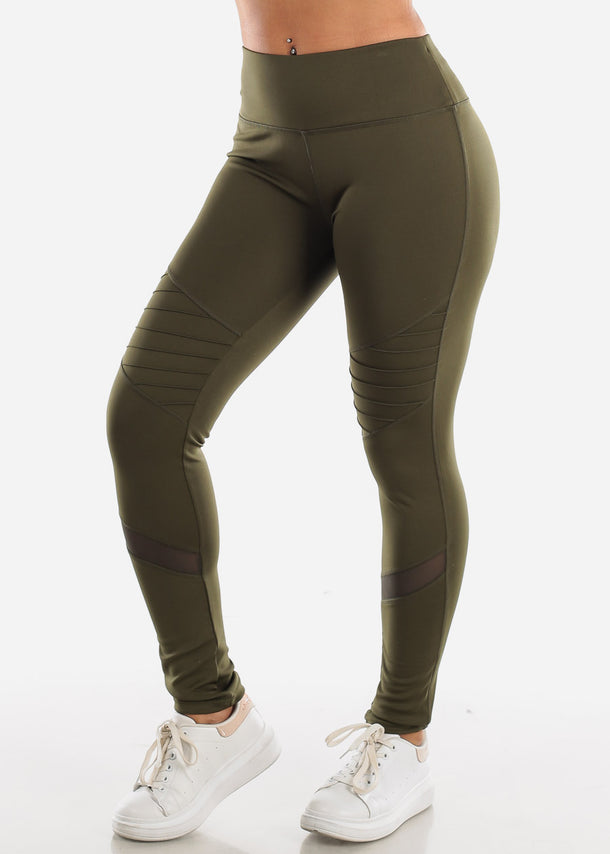 Activewear Moto Style Olive Leggings