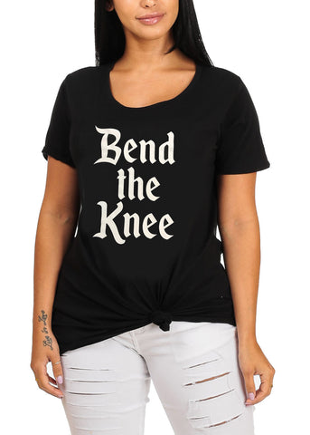 Graphic Print Short Sleeve Black Stretchy Bend The Knee Tee For Women
