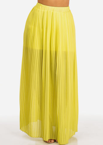 Image of Yellow Pleated Maxi Skirt