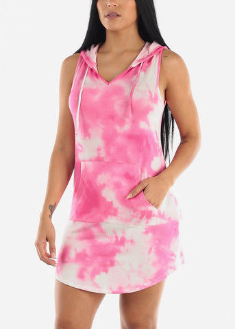 Cute Tie Dye Hoody Mini Dress