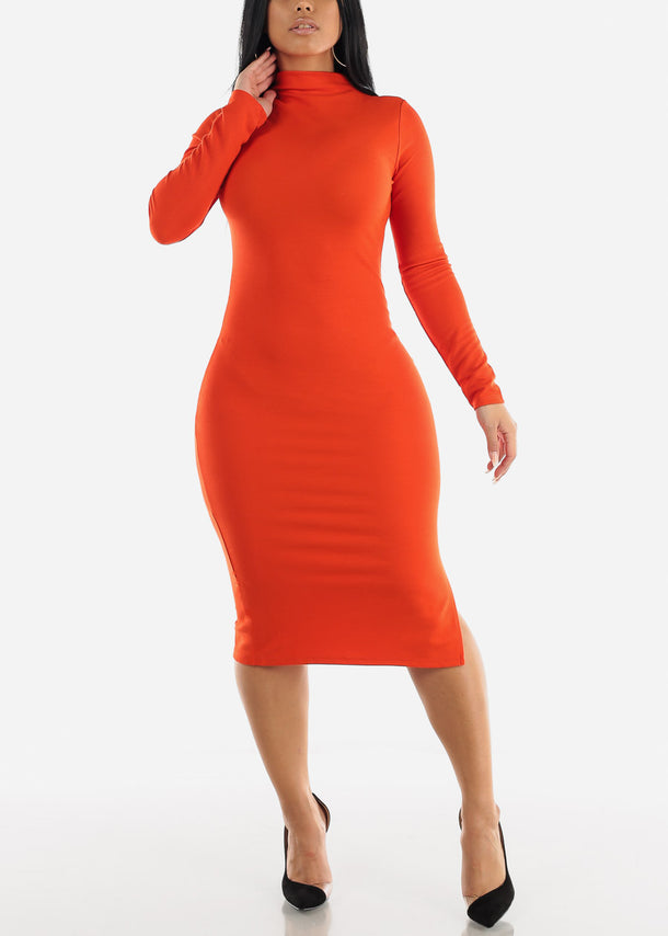 High Neck Scarlet Bodycon Midi Dress