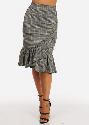 Image of High Rise Ruffle Detail Mustard Plaid Print Skirt