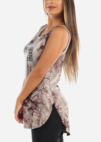 "Image of ""Love"" Brown Tie Dye Tunic Top"