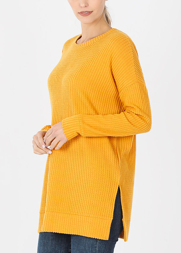 Mustard Bushed thermal Waffle Tunic Sweater