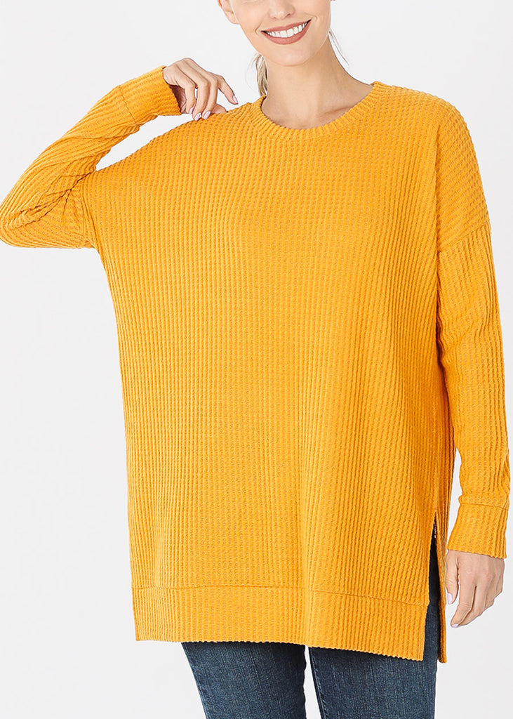 Mustard Bushed thermal Waffle Sweater