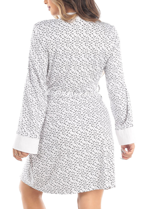 Star Print Self Tie White Robe