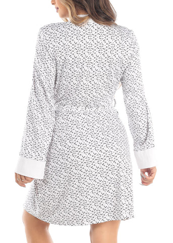 Long Sleeve Open Tie Front White Star Print Sleepwear Bathrobe Robe