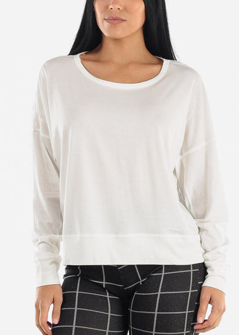Image of Drop Shoulder Long Sleeve White Top