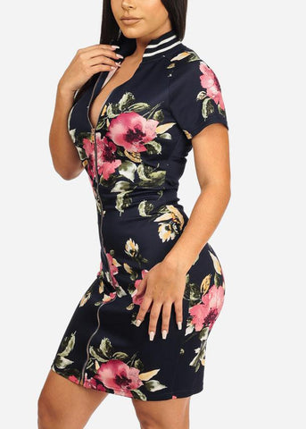 Image of Navy Floral Front Zipper Dress