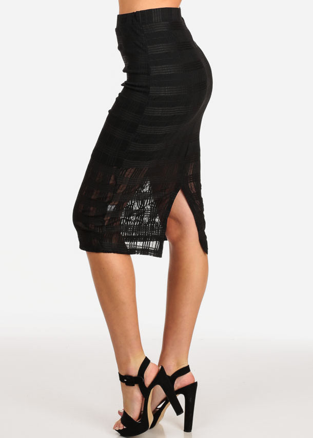 Black Grid Mesh Midi Skirt