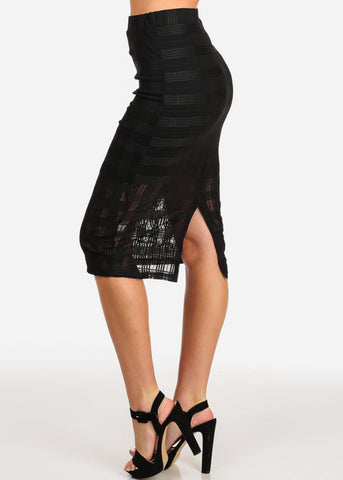 Image of Women's Junior Ladies Going Out Date Night Out Sexy Pull On Grid Mesh Black Pencil Midi Skirt
