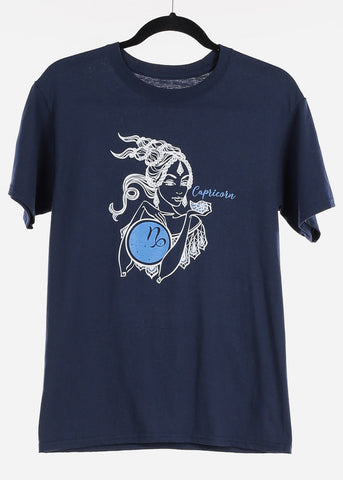 "Navy Graphic T-Shirt ""Capricorn"""