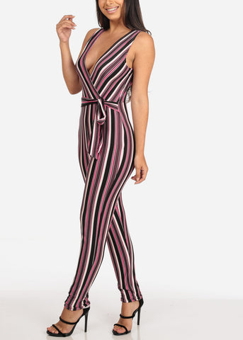 Image of Women's Junior Ladies Sexy Going Out Night Out Party Clubwear Sleeveless Pink Black And White Stripe Jumper Jumpsuit
