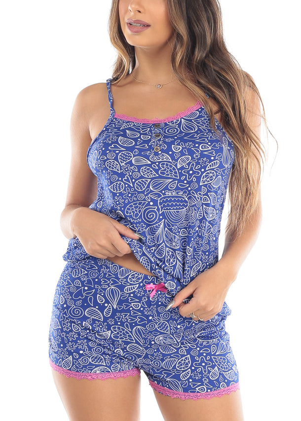 New Sleeveless Blue Printed Cami And Shorts Two Piece Set Sleepwear