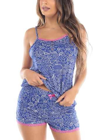 Blue Printed Cami Tank & Shorts (2 PCE PJ SET)
