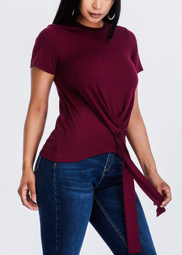 Burgundy Casual Front Knot Top