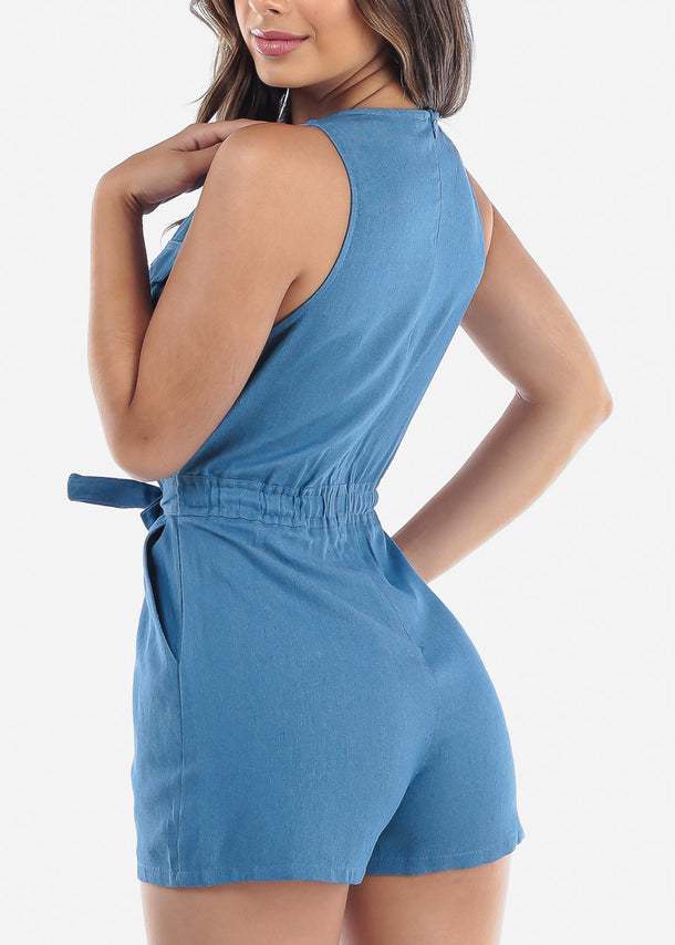 Cute Med Wash Denim Romper