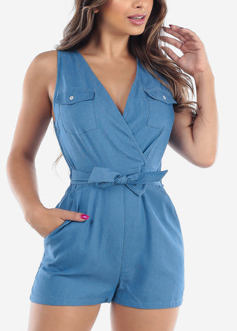 Image of Cute Wrap Front Lightweight Medium Wash Denim Romper With Pockets For Women Junior Ladies
