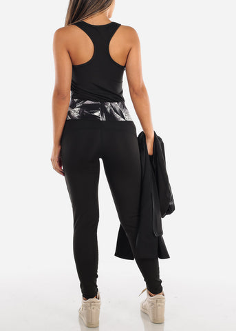 Black Printed Activewear Jacket Top & Leggings (3 PCE SET)