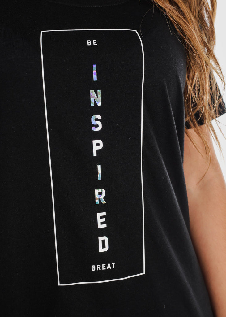 "Graphic Black Long T-Shirt ""Inspired"""