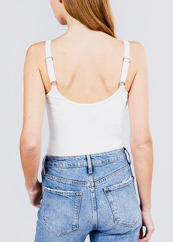 White Ribbed Cami Bodysuit