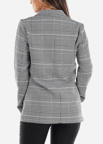 Image of White Houndstooth Print Blazer