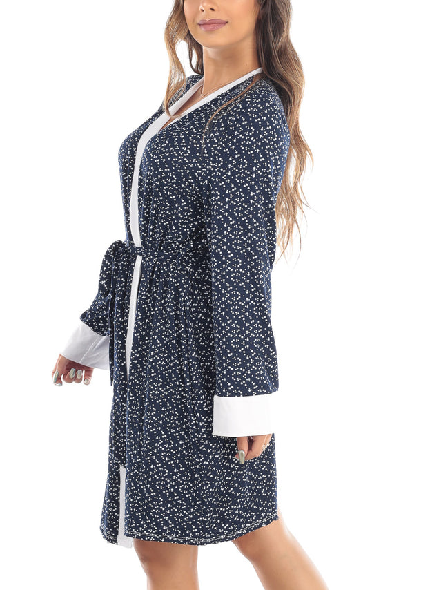 Star Print Self Tie Navy Robe