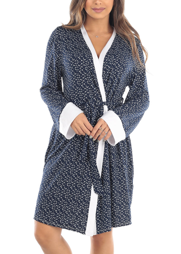 Long Sleeve Open Tie Front Navy Star Print Sleepwear Bathrobe Robe