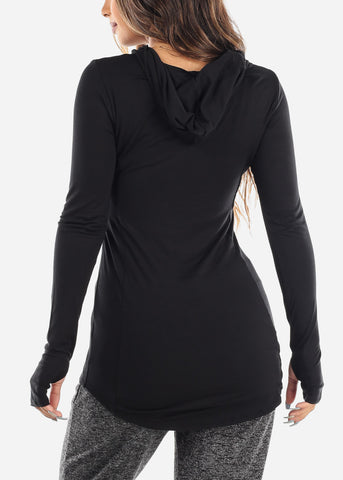 Image of Long Sleeve Solid Black Tunic Top With Hood For Women Ladies Junior
